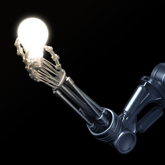 Roboter mit Glühbirne